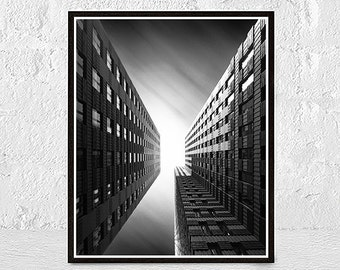 Building Print, Building Painting, Black and White Print, Architecture Print, New York Print, Instant Download, Modern, Printable Art