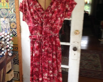 50's red novelty print rayon taffeta fit and flare dress