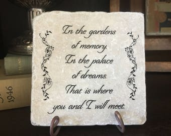 Memorial gift. In the garden of memory.... Remembrance Marble plaque