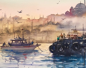 Istanbul landscape watercolor painting art print