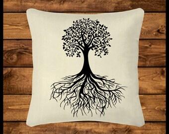 TREE OF LIFE - Burlap-look Canvas Pillow, Throw Pillow, Custom Pillow, Pillow Cover, Wedding Gift, Housewarming, Home Decor, Home Gifts,Boho