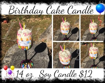Birthday gift,gift for,unique gift,ready to ship,birthday candle,birthday cake,birthday soy candle,scented soy candle,birthday cake candle,
