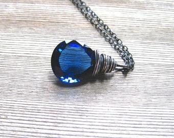 Blue Sapphire Pendant,   AAA Kashmir Quartz,  Oxidized Sterling Silver, Blue Stone Necklace,  September Birthstone Jewelry