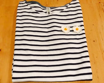 Women's short sleeved striped t-shirt with daisy embellishment