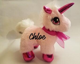 Unicorn, Stuffed Animal, Pink, Personalized
