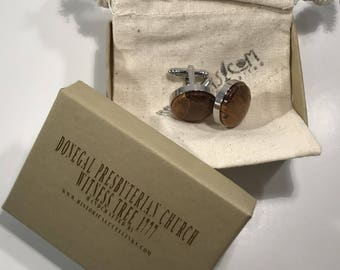 Historical Cuff Links made from the Donegal Presbyterian Church Witness Tree 1777