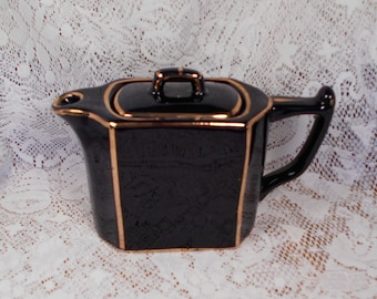 Vintage Dark Dark Navy or Black with Gold England Teapot