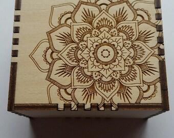 Laser Engraved Wooden Mandala Keepsake/Jewelry/Trinket Box