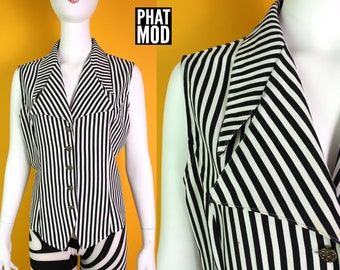 Rad New Wave Vintage 80s 90s Black & White Stripe Sleeveless Top with Big Bold Collar
