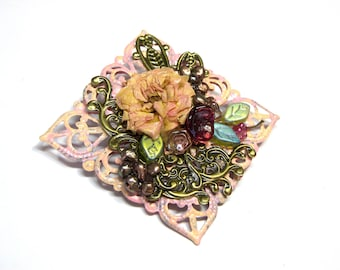 Pink Brooch Victorian Flower Pin brooch bouquet gift for her gift for friend brooch vintage assemblage jewelry vintage pink wearable art
