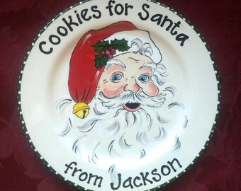 Cookies for Santa Plate,Santa Cookie Plate, Santa Plate,Christmas Plate, 1st Christmas Gift,Milk and Cookies,Holiday Plate Old Fashion Santa