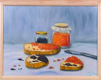 Black and red oil painting on canvas caviar food