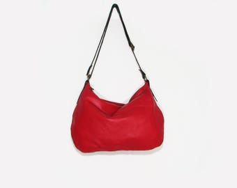Leather hobo bag / Leather crossbody bag / Red leather bag