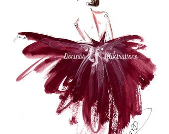 Princess painting, Fashion illustration, Princess art,  Fashion art, Fashion wall art, Fashion sketch, Princess drawing, Burgundy wall art