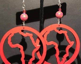 Red Circle Africa Earrings