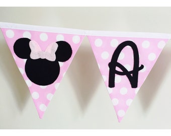 Minnie Mouse Fabric Bunting Banner Flags