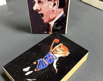 "Jim Boeheim and Carmelo Anthony Varnished ""Wood"" Art Blocks"