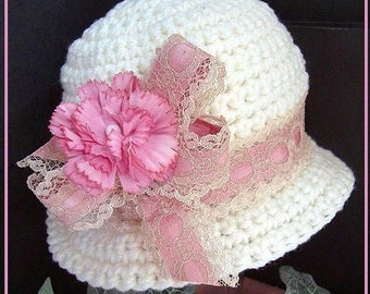 HAT CROCHET PATTERN - Carlie Cloche Hat - Cute dressy summer hat, all sizes newborn to adult, num 121 Carlie