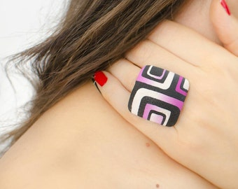 Pink ring, Pink and black ring, Big rings, Square ring, Gift for wife, Retro ring, Geometric ring, Large ring, Modern ring, Adjustable ring