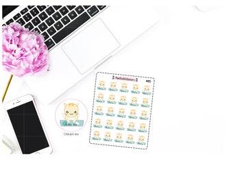 085 - Kitty Cat Litter Clean Litter Box Stickers for Erin Condren
