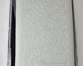 Custom Engraved Business Card Case Paisley Design Business Card or Single Sided Cigarette Case  -Hand Engraved