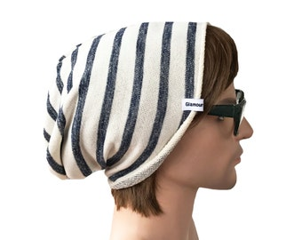 Slouch Beanie Navy and White Striped Stretch Knit Slouch Beanie Adult Fit 12yrs+