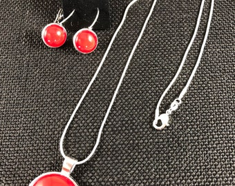 Silver and Red Necklace and Earring Set