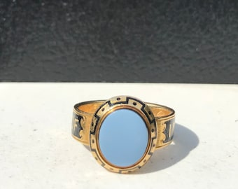 18kt Gold Black Enamel and Agate Mourning Ring