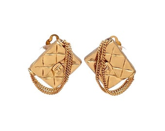 Authentic vintage Chanel earrings gold quilted bag #ea2034