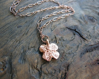 Rose gold necklace, four leaf clover, lucky charm, rose gold jewellery