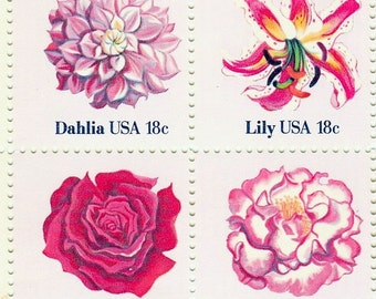 Qty of 8 Flowers 18 cent 1981 vintage postage stamps, Excellent condition # 1876-79