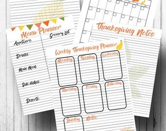 Thanksgiving planner kit - Printable planner pages - Letter size 8.5 x 11 - Holiday planner kit - Thanksgiving holiday planner - Printable