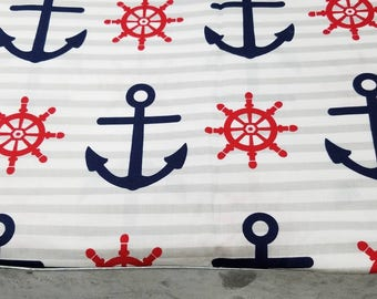 Nautical anchor and stripe cotton quilting fabric by the yard - 44 inches in width - navy blue, red, gray, white