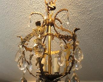 Vintage Hollywood Regency Glam Spanish Style Brass & Crystal Ornate Elegant Chandelier Ceiling light Fixture