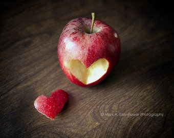 Apple photography red heart rustic kitchen decor fine art photography print romantic photo love heart nature art wedding Fruit Pictures