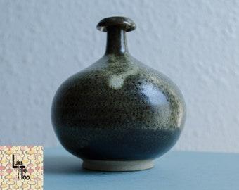 Vintage MCM  Green-ish Studio Pottery Vase Weed Pot