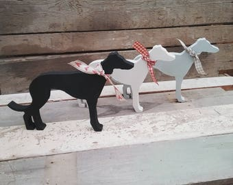 Hand Painted Wooden Greyhound, Whippet, Lurcher Ornament, Decoration, Gift for Greyhound  Lover, Whippet Lover,  Lurcher Lover, Keepsake