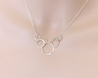 Circles Necklace, Sterling Silver, Wedding Necklace, Infinity Necklace, Circle Jewelry, Anniversary Gift, Wedding Gift, Birthday Gift