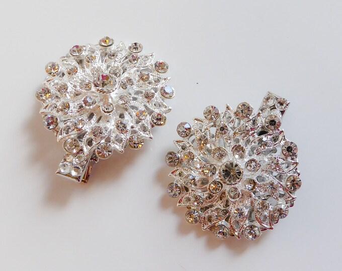 Bridal crystal hair clips, pins for veil, bridesmaids, rhinestone, wedding, prom, vintage glamour, birdcage veils, bridal, brides