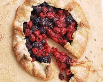 Fine Art Giclee Print. Food Photography. Homemade glistening rustic berry tart. raspberries, blueberries, blackberries on parchment paper