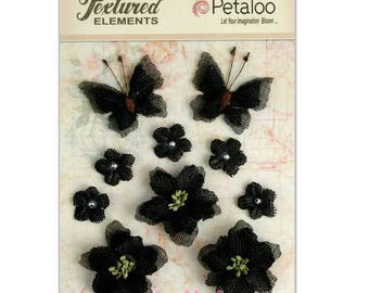 Set of 10 ornaments, flowers, butterflies black fabric with Petaloo scrapbooking embellishment *.