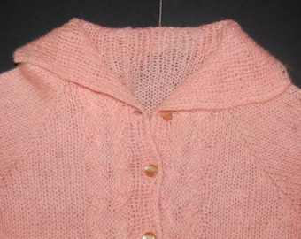 Vintage Girl's Mohair Sweater Pretty Pink Soft Cardigan