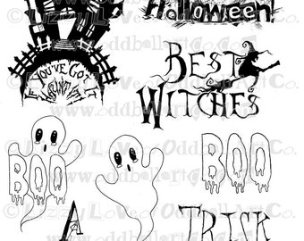 Digi Stamp Instant Download Creepy Cute Halloween Sentiments Digital Image Set No. 98 by Lizzy Love