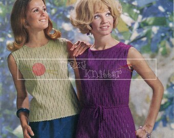 "Lady's Summer Top and Dress 36-42"" 4-ply Sirdar 2474 Vintage Knitting Pattern PDF instant download"