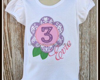 Birthday Flower Number 1-9 Short/Long Sleeve Ruffle Top Size 12M-18M, 2T-5T, 6