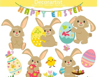 ON SALE Easter Clipart | Easter rabbit clipart | easter rabbit clipart | easter day|egg clipart | INSTANT Download E