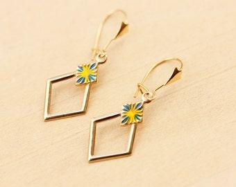 Gold Diamond Earrings, Gold Dangle Earrings, 10K Gold Earrings, 10K Earrings, Gold Earrings, Gold Enamel Earrings, Diamond Shape Earrings