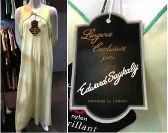 Vintage 1960s Edward Saykaly Yellow Antron Nylon Nightgown Size Large - New with Tags