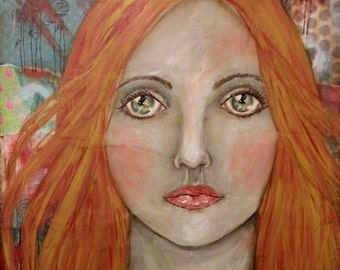 """Original Mixed Media Portrait Painting """"The Flame"""" by Lore"""