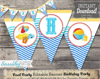 Pool Party Banner - INSTANT DOWNLOAD - Editable & Printable Birthday Bunting, Beach, Holiday, Summer, Water, Splash, Party Decorations